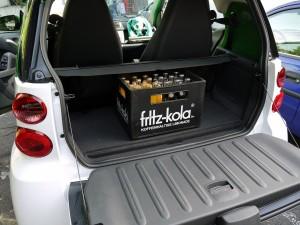 fritz-kola im smart Kofferraum