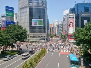 Shibuya Kreuzung, zur Rushhour ist noch voller dort