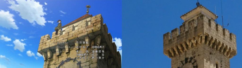 Der Turm aus dem Anime, der eigentlich in der Festtung der Mädchen steht, ist in Realität ca. 5-10Min Fußweg südlich vom Plaza Mayor - Torre de Mangana.