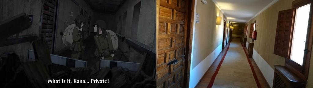 Die Gang im Parador de Cuenca sind 1:1 wie im Anime. Selbst die Vertäfelung der Türen und der Stil der Zimmer ist ähnlich.